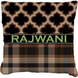 Moroccan & Plaid Faux-Linen Throw Pillow (Personalized)