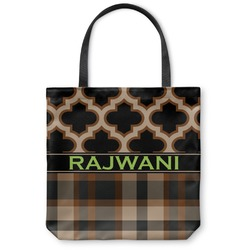 Moroccan & Plaid Canvas Tote Bag (Personalized)