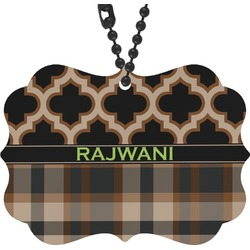 Moroccan & Plaid Rear View Mirror Decor (Personalized)