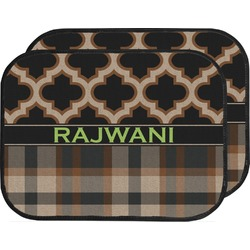 Moroccan & Plaid Car Floor Mats (Back Seat) (Personalized)