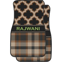 Moroccan & Plaid Car Floor Mats (Front Seat) (Personalized)