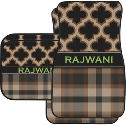 Moroccan & Plaid Car Floor Mats Set - 2 Front & 2 Back (Personalized)