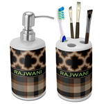 Moroccan & Plaid Bathroom Accessories Set (Ceramic) (Personalized)