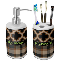Moroccan & Plaid Ceramic Bathroom Accessories Set (Personalized)