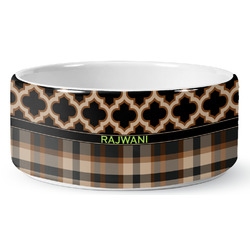 Moroccan & Plaid Ceramic Pet Bowl (Personalized)