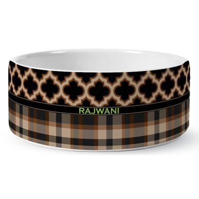 Moroccan & Plaid Ceramic Dog Bowl (Personalized)