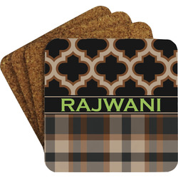 Moroccan & Plaid Coaster Set w/ Stand (Personalized)