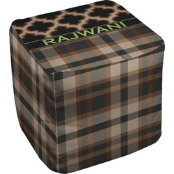Moroccan & Plaid Cube Pouf Ottoman (Personalized)
