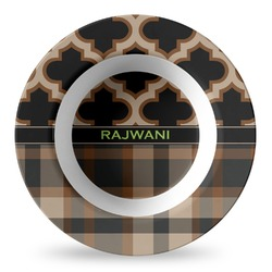 Moroccan & Plaid Plastic Bowl - Microwave Safe - Composite Polymer (Personalized)