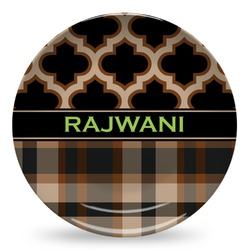 Moroccan & Plaid Microwave Safe Plastic Plate - Composite Polymer (Personalized)