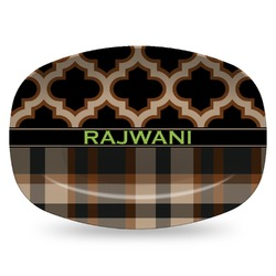 Moroccan & Plaid Plastic Platter - Microwave & Oven Safe Composite Polymer (Personalized)