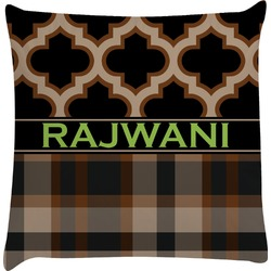 Moroccan & Plaid Decorative Pillow Case (Personalized)
