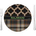 """Moroccan & Plaid Glass Lunch / Dinner Plates 10"""" - Single or Set (Personalized)"""