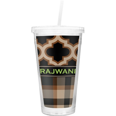 Moroccan & Plaid Double Wall Tumbler with Straw (Personalized)