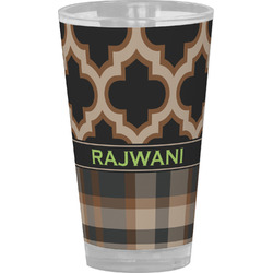 Moroccan & Plaid Drinking / Pint Glass (Personalized)