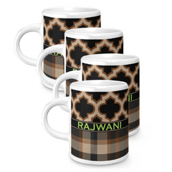 Moroccan & Plaid Espresso Mugs - Set of 4 (Personalized)