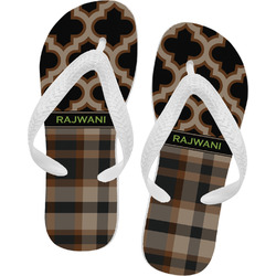 Moroccan & Plaid Flip Flops - Large (Personalized)