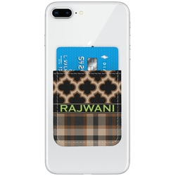 Moroccan & Plaid Genuine Leather Adhesive Phone Wallet (Personalized)
