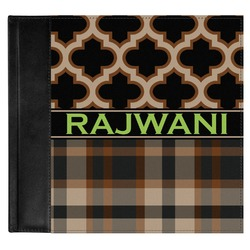 Moroccan & Plaid Genuine Leather Baby Memory Book (Personalized)