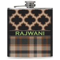 Moroccan & Plaid Genuine Leather Flask (Personalized)