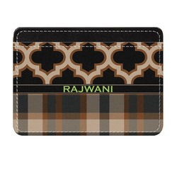 Moroccan & Plaid Genuine Leather Front Pocket Wallet (Personalized)