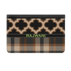 Moroccan & Plaid Genuine Leather ID & Card Wallet - Slim Style (Personalized)