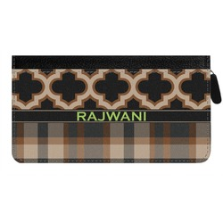Moroccan & Plaid Genuine Leather Ladies Zippered Wallet (Personalized)