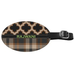 Moroccan & Plaid Genuine Leather Oval Luggage Tag (Personalized)