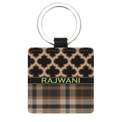 Moroccan & Plaid Genuine Leather Rectangular Keychain (Personalized)