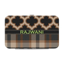 Moroccan & Plaid Genuine Leather Small Framed Wallet (Personalized)