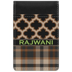 Moroccan & Plaid Genuine Leather Small Memo Pad (Personalized)