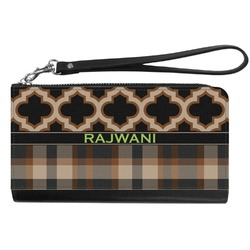 Moroccan & Plaid Genuine Leather Smartphone Wrist Wallet (Personalized)
