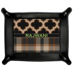 Moroccan & Plaid Genuine Leather Valet Tray (Personalized)