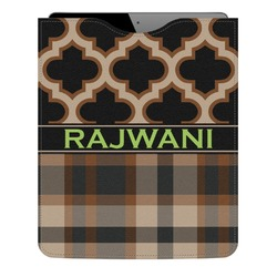 Moroccan & Plaid Genuine Leather iPad Sleeve (Personalized)