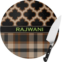Moroccan & Plaid Round Glass Cutting Board (Personalized)