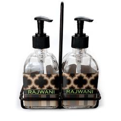 Moroccan & Plaid Soap & Lotion Dispenser Set (Glass) (Personalized)