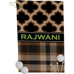 Moroccan & Plaid Golf Towel - Full Print (Personalized)