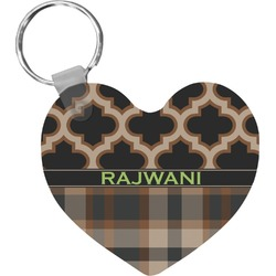 Moroccan & Plaid Heart Keychain (Personalized)