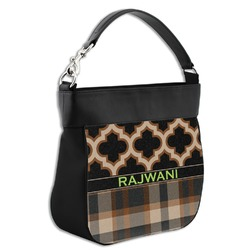 Moroccan & Plaid Hobo Purse w/ Genuine Leather Trim w/ Name or Text