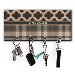 Moroccan & Plaid Key Hanger w/ 4 Hooks w/ Name or Text