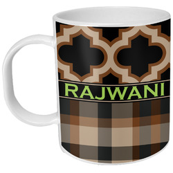 Moroccan & Plaid Plastic Kids Mug (Personalized)