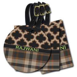 Moroccan & Plaid Plastic Luggage Tags (Personalized)