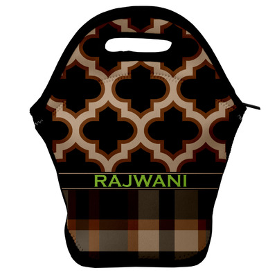 Moroccan & Plaid Lunch Bag w/ Name or Text