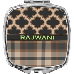 Moroccan & Plaid Compact Makeup Mirror (Personalized)