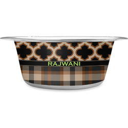 Moroccan & Plaid Stainless Steel Dog Bowl (Personalized)