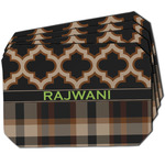 Moroccan & Plaid Dining Table Mat - Octagon w/ Name or Text