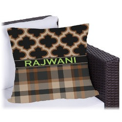 Moroccan & Plaid Outdoor Pillow (Personalized)