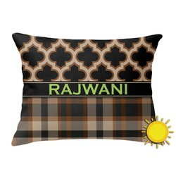 Moroccan & Plaid Outdoor Throw Pillow (Rectangular) (Personalized)