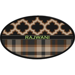 Moroccan & Plaid Oval Trailer Hitch Cover (Personalized)
