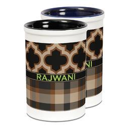 Moroccan & Plaid Ceramic Pencil Holder - Large